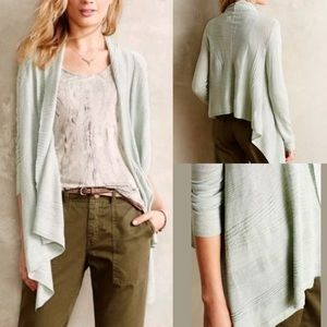 Anthro Moth Seafoam Green Open Front Cardigan